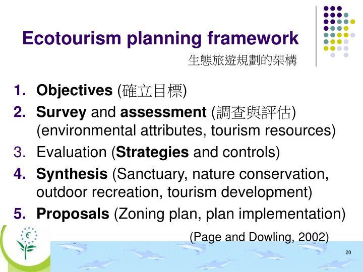 Ecotourism planning framework