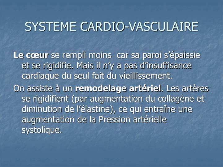 SYSTEME CARDIO-VASCULAIRE