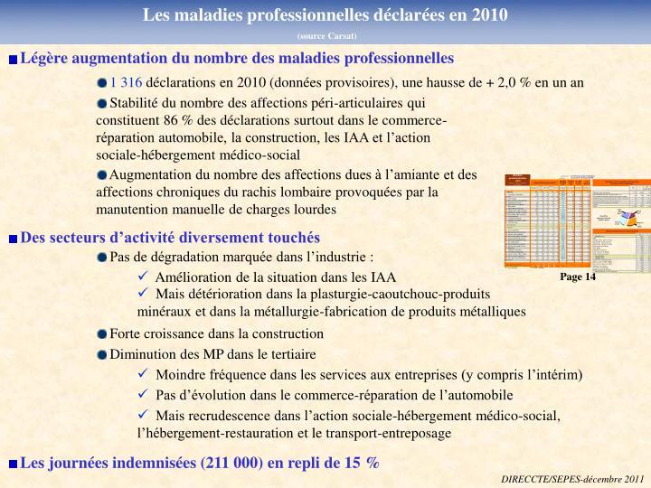 Les maladies professionnelles déclarées en 2010