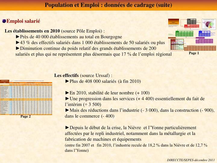 Population et Emploi : données de cadrage (suite)