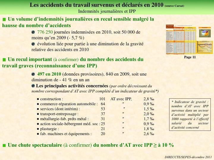 Les accidents du travail survenus et déclarés en 2010