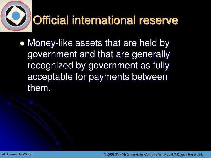 Official international reserve