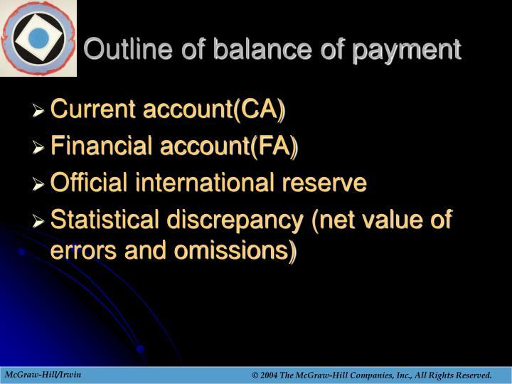 Outline of balance of payment