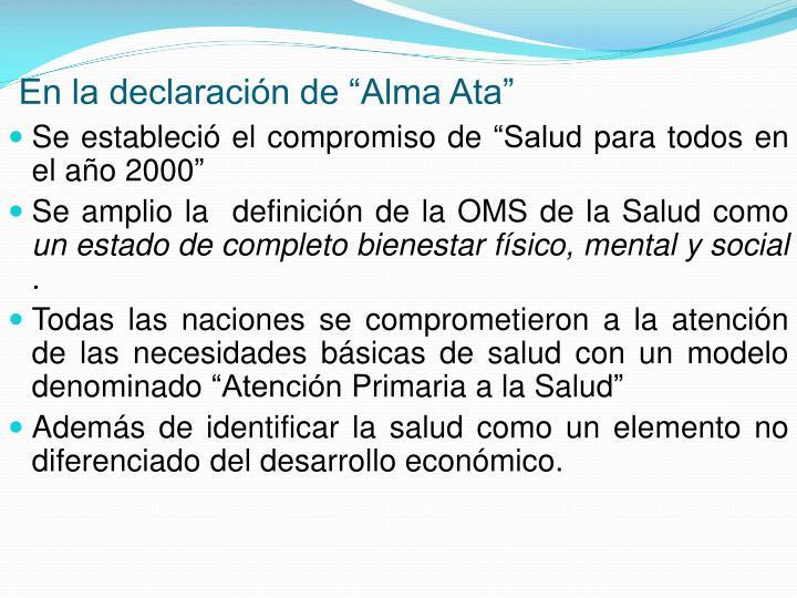 """En la declaración de """"Alma Ata"""""""
