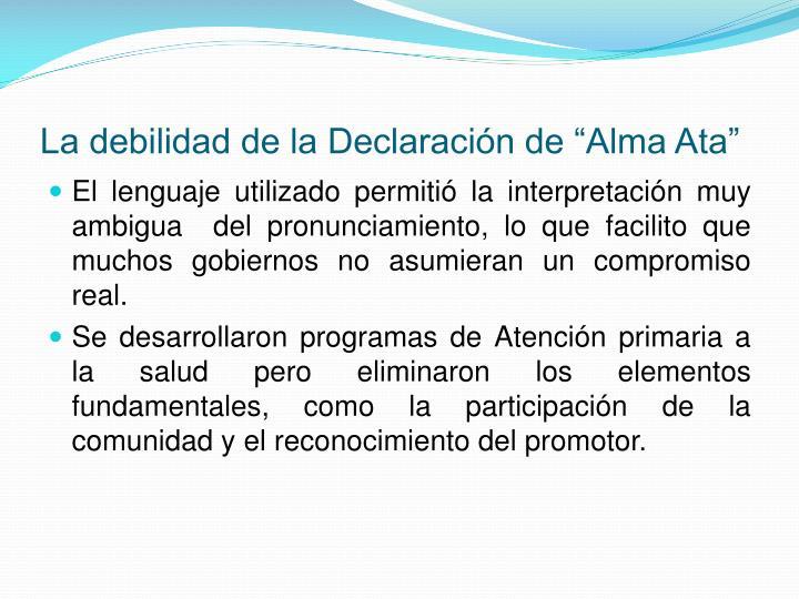 """La debilidad de la Declaración de """"Alma Ata"""""""