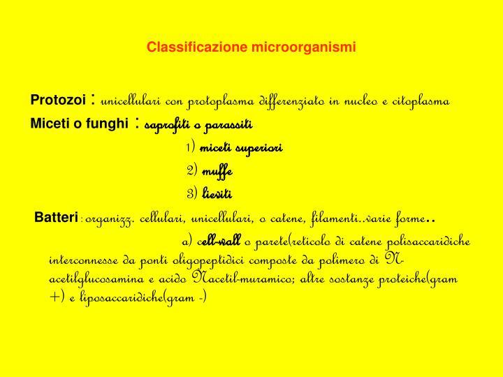Classificazione microorganismi