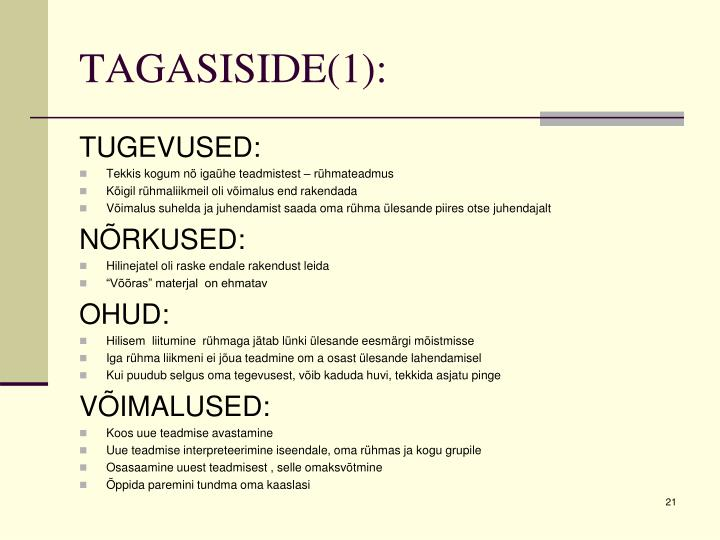TAGASISIDE(1):