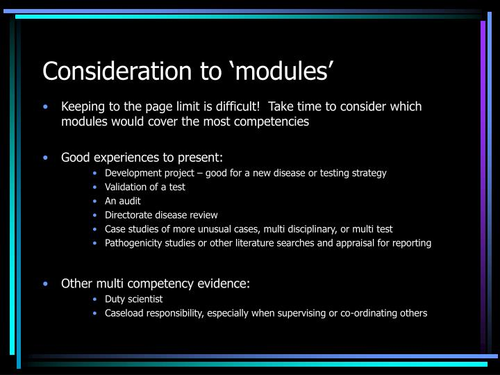 Consideration to 'modules'