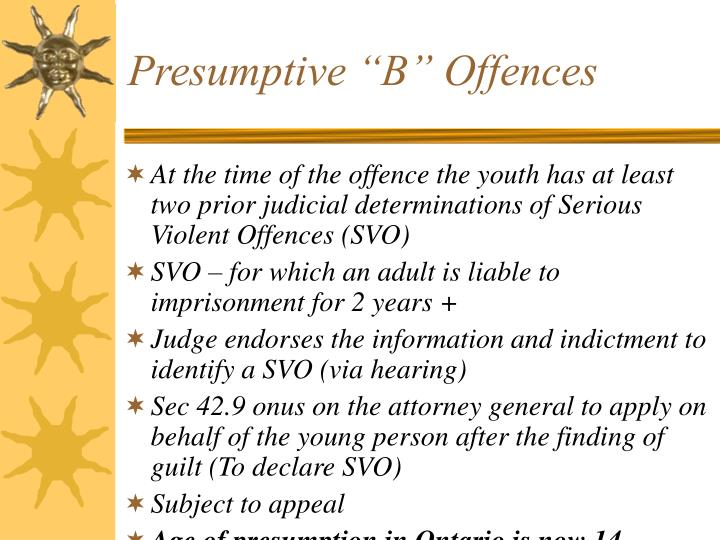 "Presumptive ""B"" Offences"
