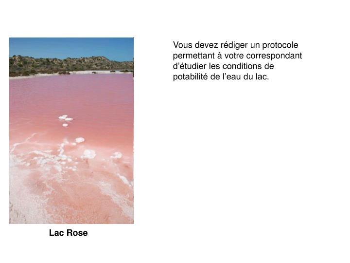 Vous devez rédiger un protocole permettant à votre correspondant d'étudier les conditions de potabilité de l'eau du lac.