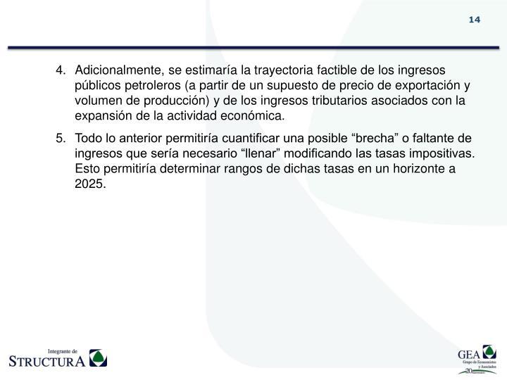 Adicionalmente, se estimaría la trayectoria factible de los ingresos públicos petroleros (a partir de un supuesto de precio de exportación y volumen de producción) y de los ingresos tributarios asociados con la expansión de la actividad económica.