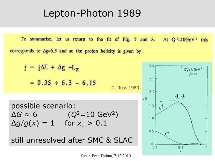 Lepton-Photon 1989