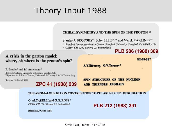 Theory Input 1988