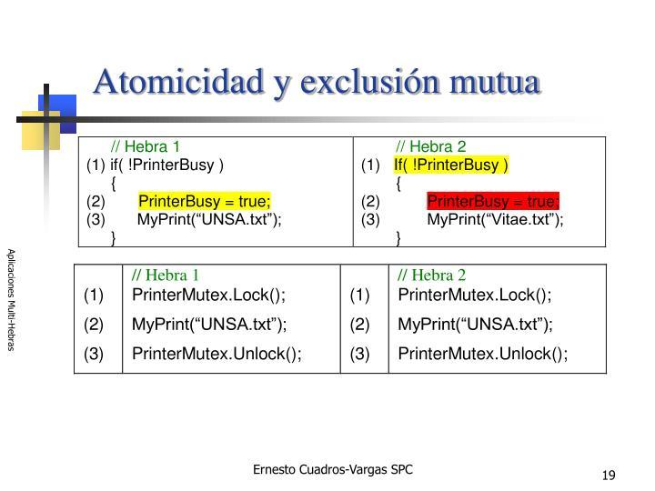 Atomicidad y exclusión mutua