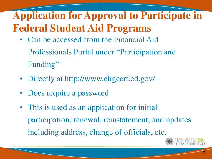 Application for Approval to Participate in Federal Student Aid Programs
