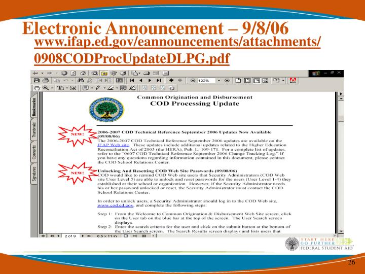 Electronic Announcement – 9/8/06