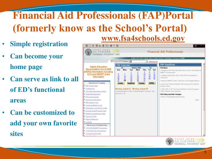 Financial Aid Professionals (FAP)Portal