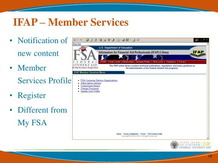 IFAP – Member Services
