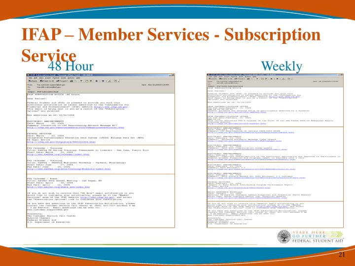 IFAP – Member Services - Subscription Service