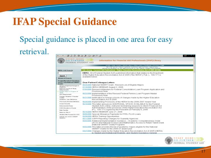 IFAP Special Guidance