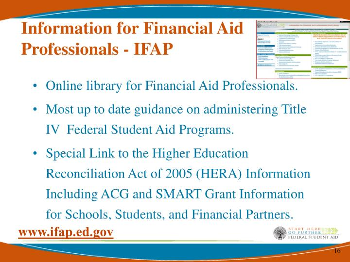 Information for Financial Aid Professionals - IFAP
