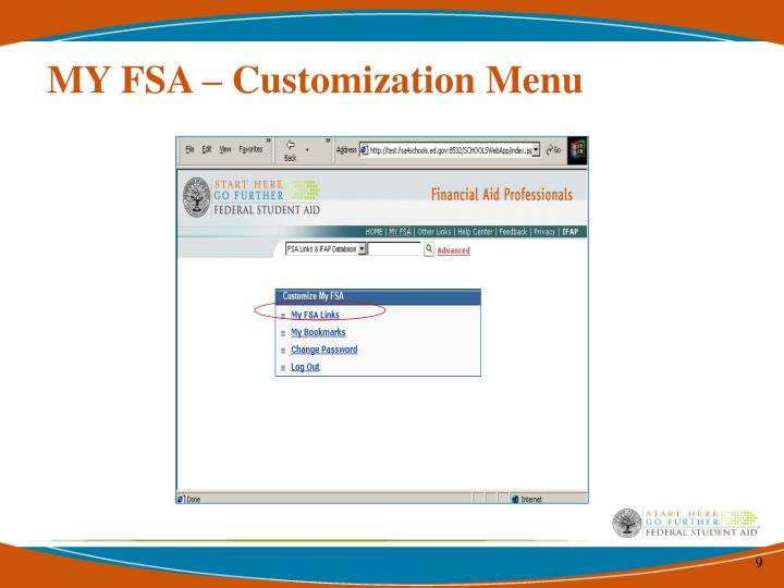 MY FSA – Customization Menu