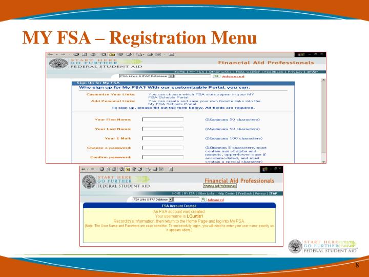 MY FSA – Registration Menu