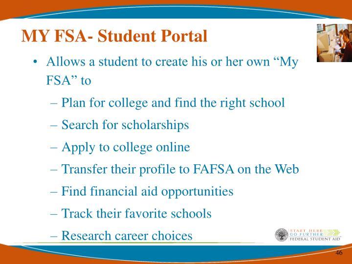 MY FSA- Student Portal