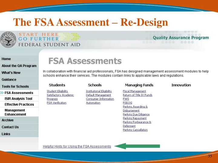 The FSA Assessment – Re-Design