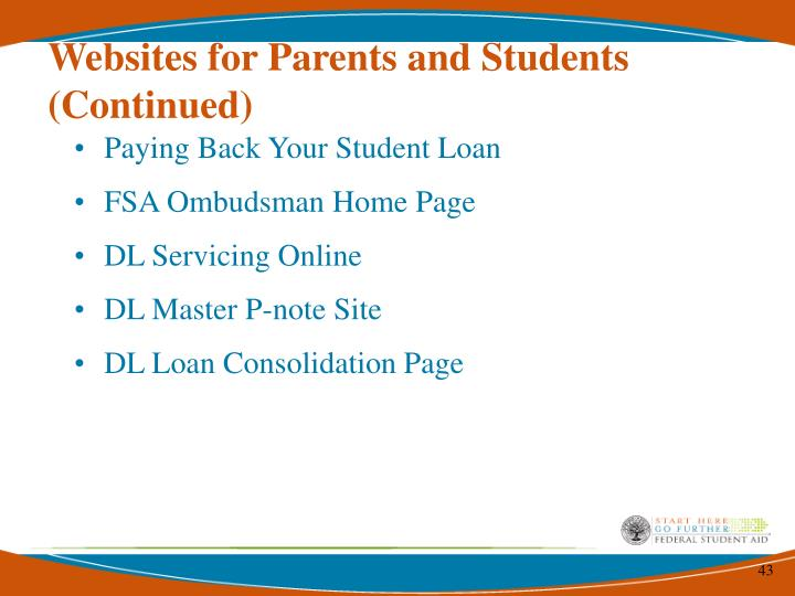Websites for Parents and Students (Continued)