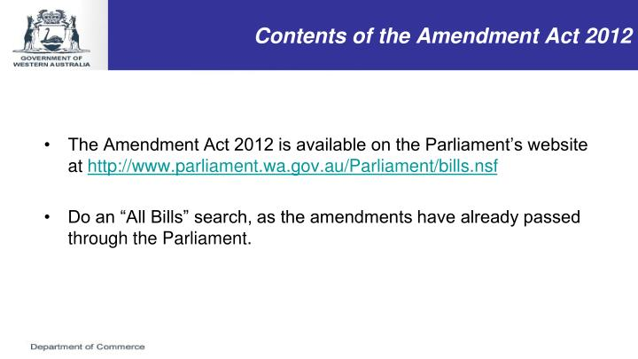 Contents of the Amendment Act 2012