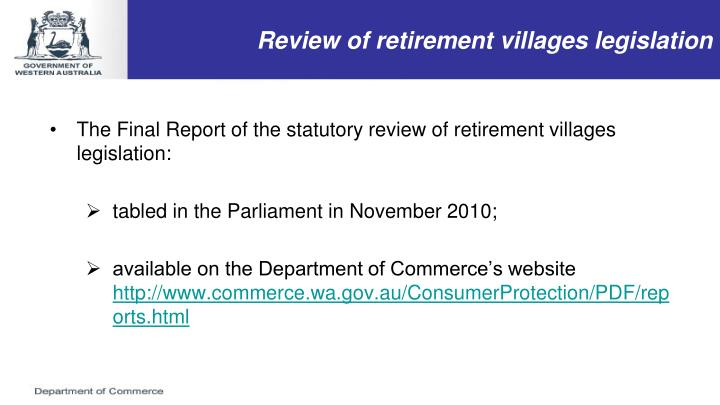 Review of retirement villages legislation