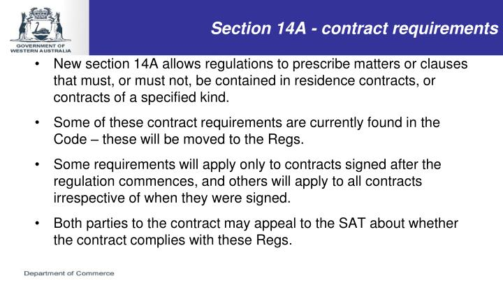 Section 14A - contract requirements