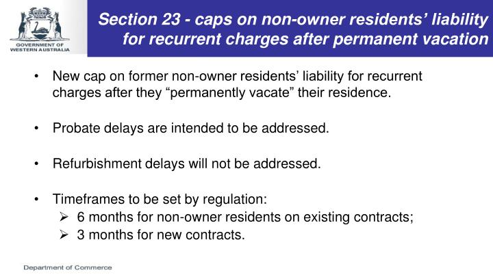 Section 23 - caps on non-owner residents' liability for recurrent charges after permanent vacation