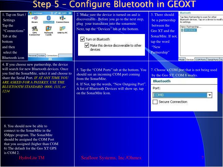 Step 5 – Configure Bluetooth in GEOXT