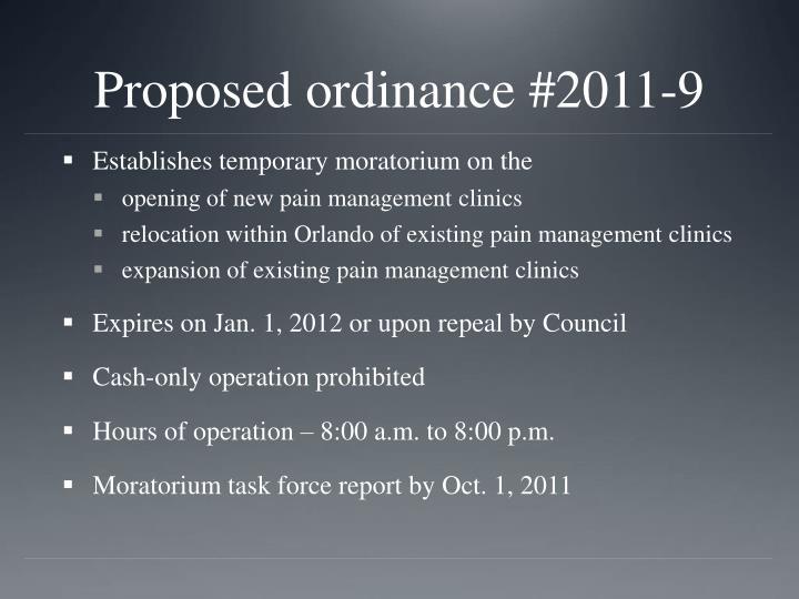 Proposed ordinance #2011-9