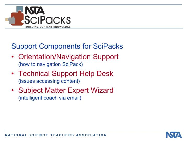 Support Components for SciPacks