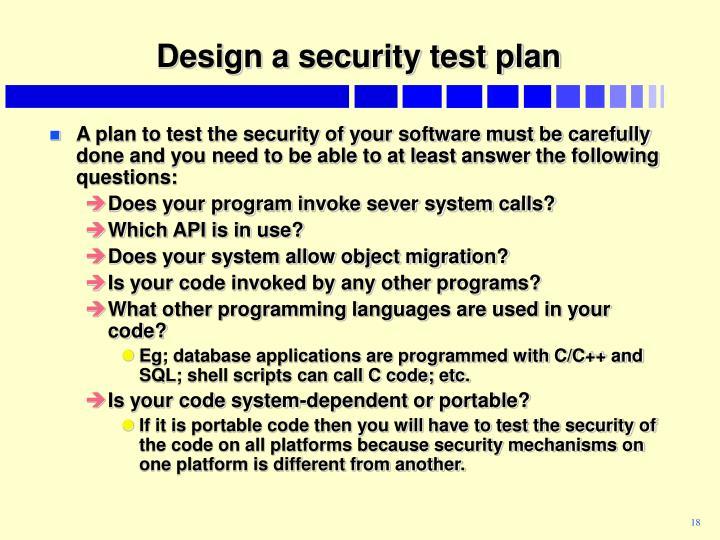 Design a security test plan