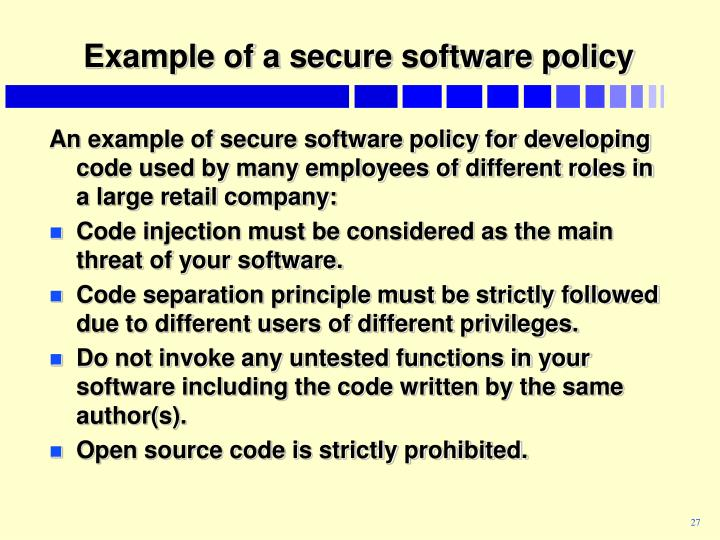 Example of a secure software policy