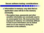 secure software testing considerations