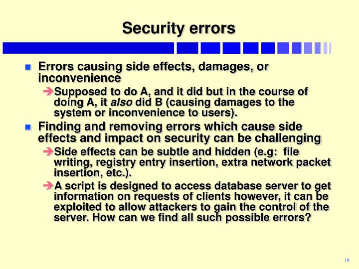 Security errors