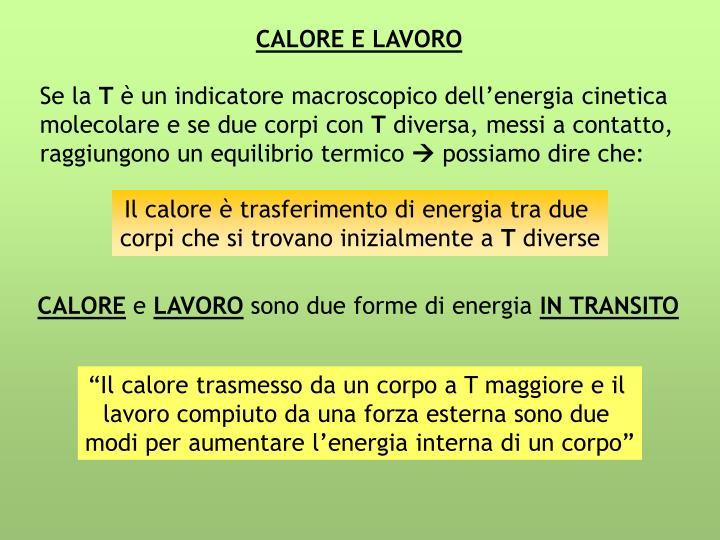 CALORE E LAVORO