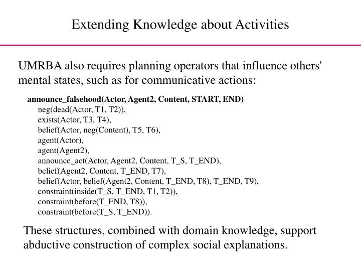 Extending Knowledge about Activities