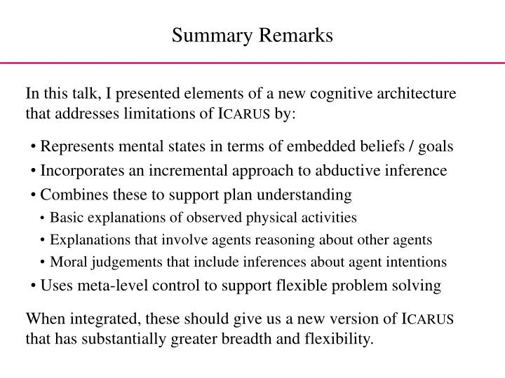 In this talk, I presented elements of a new cognitive architecture that addresses limitations of I