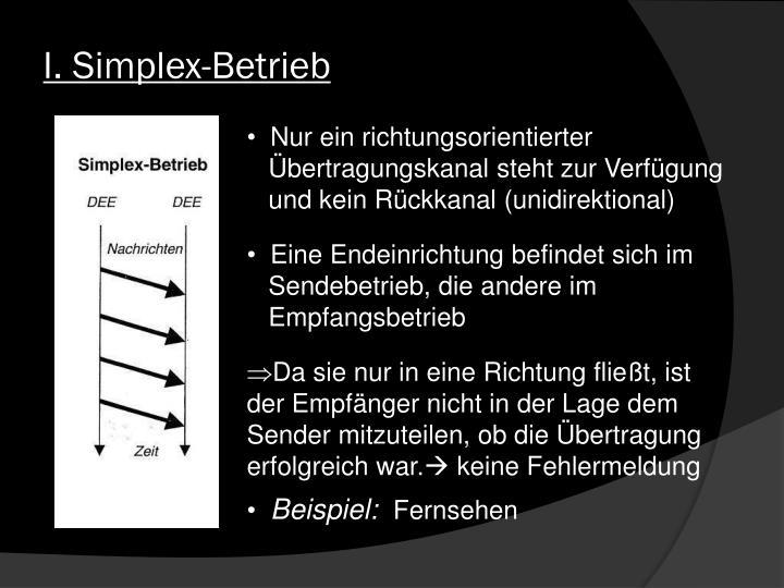 I. Simplex-Betrieb