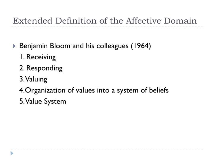 Extended definition of the affective domain