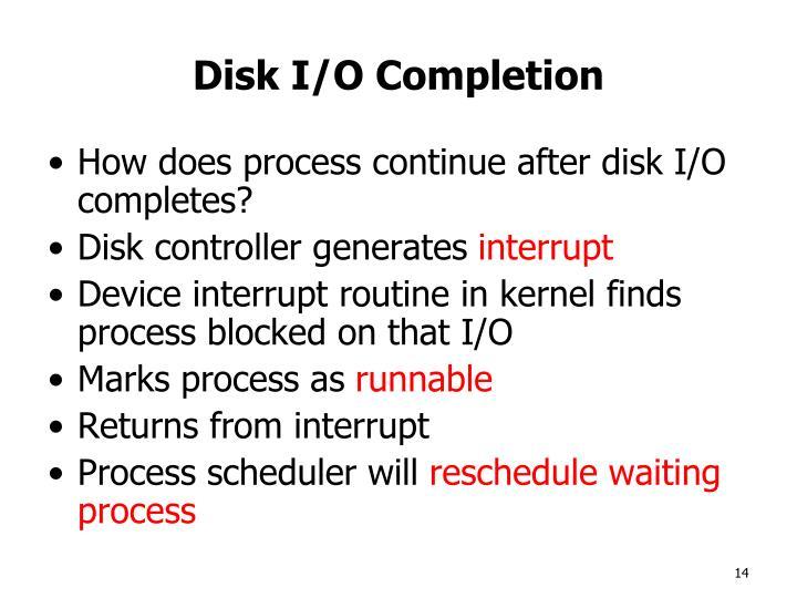 Disk I/O Completion