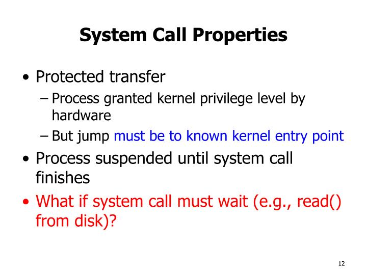 System Call Properties