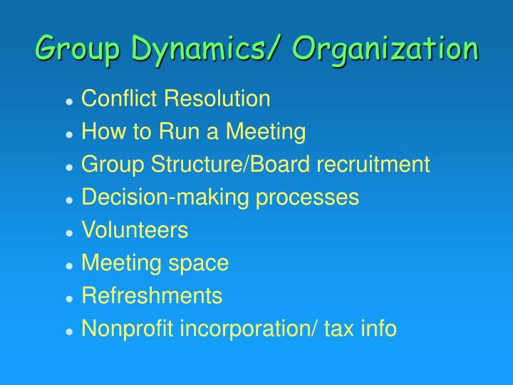 Group Dynamics/ Organization