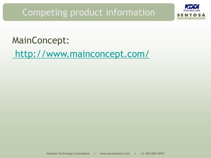 Competing product information